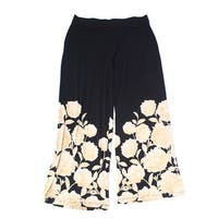 Alfani Black Gold Women's Size XL Stretch Floral Print Dress Pants
