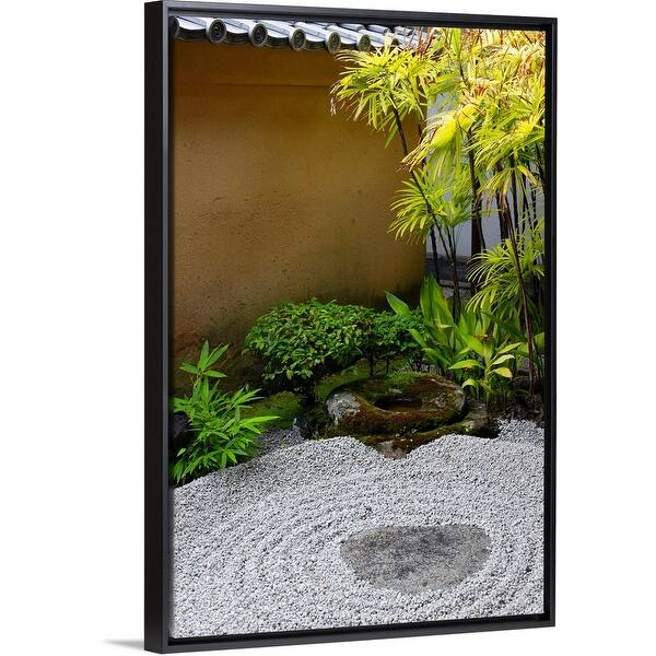 Shop Small Zen Garden Ryogen In Black Float Frame Canvas Art