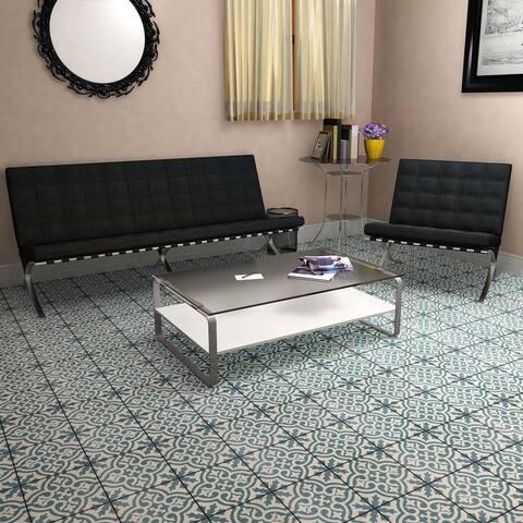 "SomerTile Berkeley Blue Encaustic 17.63"" x 17.63"" Ceramic Floor and Wall Tile"