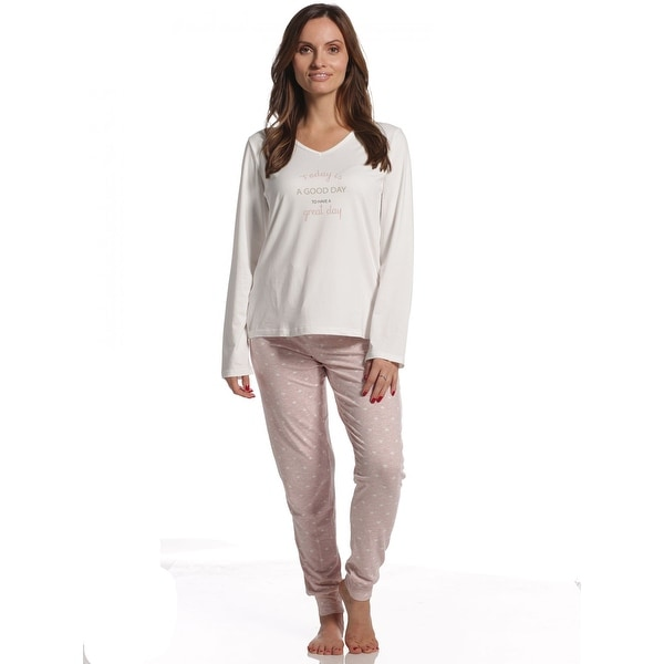 d1ed0d254a2f Shop Body Touch Women s Super Soft Today Is Good Day Pajama Set - Free  Shipping On Orders Over  45 - Overstock - 23618022