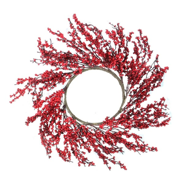 "28"" Festive Red Berries Artificial Christmas Wreath – Unlit"