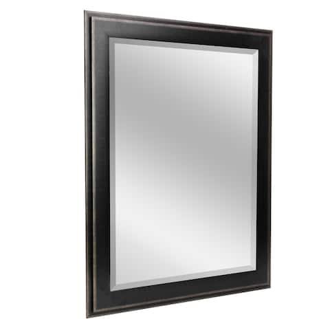 Head West 31.5 x 43.5 Black Two-Step Beveled Mirror - 31.5 x 43.5