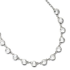 Silvertone Clear Crystal Necklace - 16in