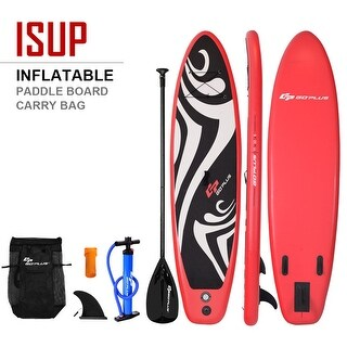 Goplus 11' Inflatable Stand up Paddle Board Surfboard SUP W/ Bag Adjustable Fin Paddle - black + red