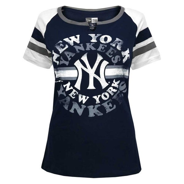 af51fa68 Shop New Era Women MLB New York Yankees Scoop V-Neck Jersey T-Shirt Tee  40051L-NVWHSO - Free Shipping On Orders Over $45 - Overstock - 27590094