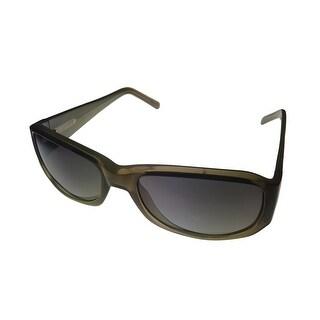 Levi Mens Sunglass LS129 3 Green Fade Plastic Rectang Wrap, Brown Gradient Lens - Medium
