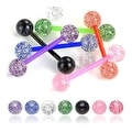 "Flexible Barbell with Ultra Glitter UV Balls - 14 GA - 5/8"" Long (Sold Ind.) - Thumbnail 0"