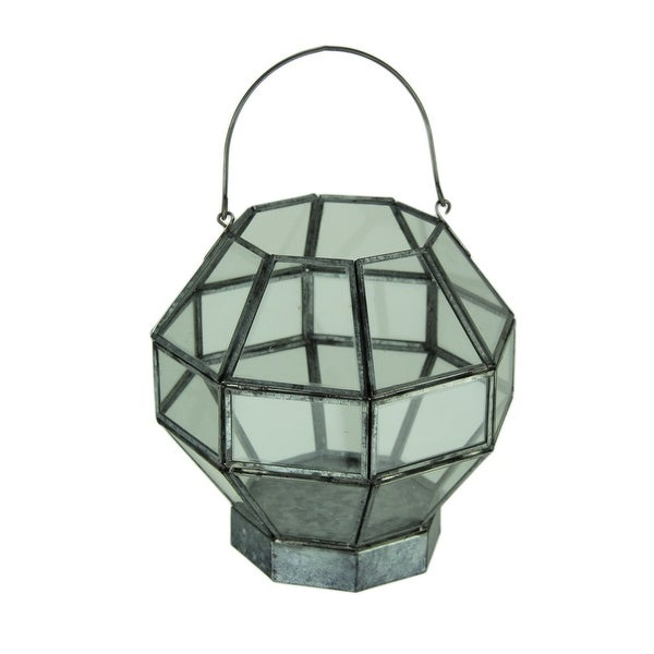 Metal and Glass Octagon Shape Candle Lantern - 8 X 7.5 X 7.5 inches