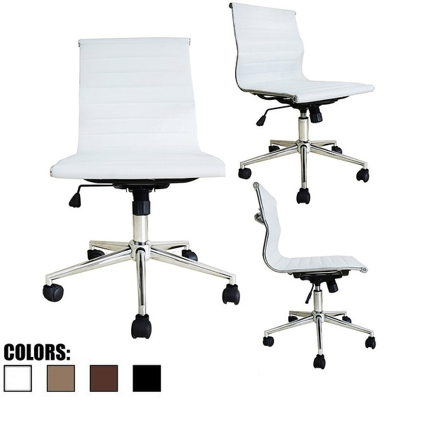 2xhome White Mid Back Leather Office Chair White Armless With Wheels Back Conference Room Tilt Guest Work Task Executive Swivel