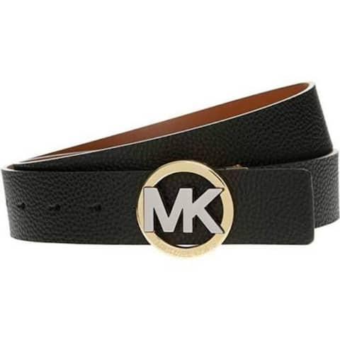 Michael Kors Reversible Black/Tan Two Tone MK Circle Logo Buckle Belt 551804C