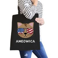 Ameowica Black Canvas Tote Funny Design Grocery Bag For Cat Lovers