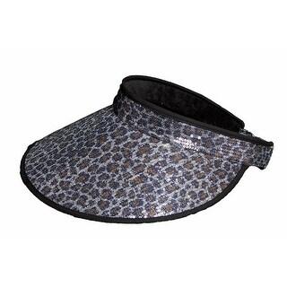 Women's Leopard Print Visor - Black