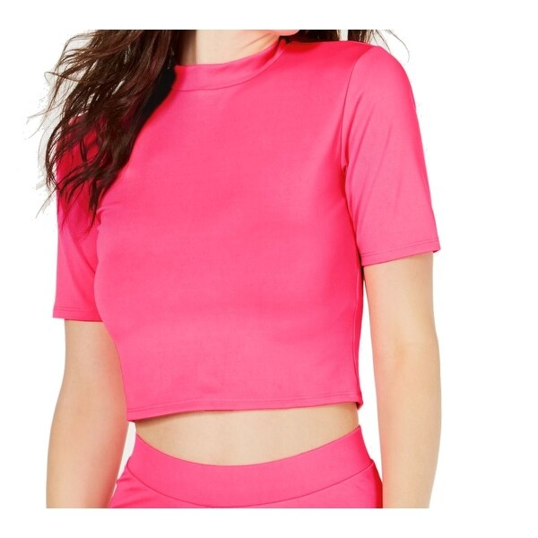 Hot Pink Scuba Knit Peplum Top   Neon pink tops, Plus size fashionista, Lace tops