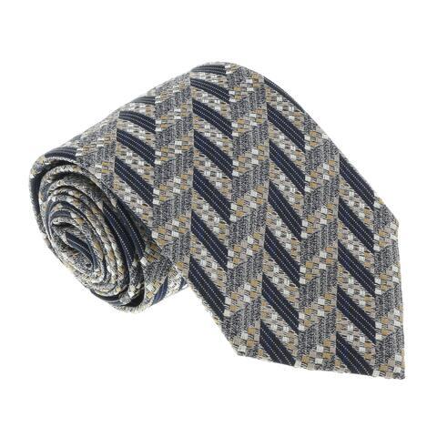 Missoni U5097 Silver/Gold Chevron 100% Silk Tie - 60-3