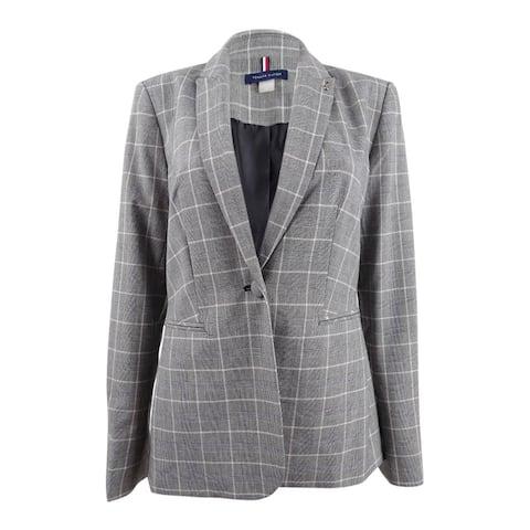 Tommy Hilfiger Women's One-Button Plaid Jacket (16, Powder Multi)