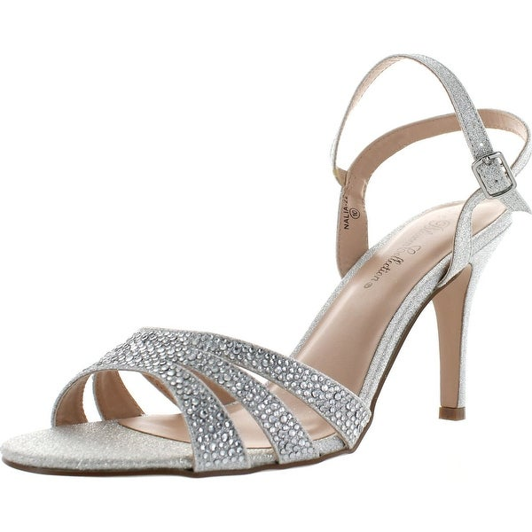 De Blossom Collection Womens Nalia-22 Mid Heel Ankle Strap Dress Sandals - Silver Sparkle