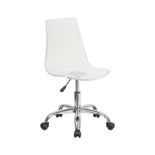 Offex Contemporary Transparent Clear Acrylic Task Chair with Chrome Base [ OF-CH-98018-CLR-GG ]