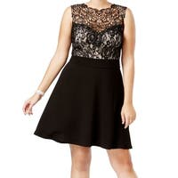 Love Squared Black Womens Size 1X Plus Lace Fit N Flare A-Line Dress