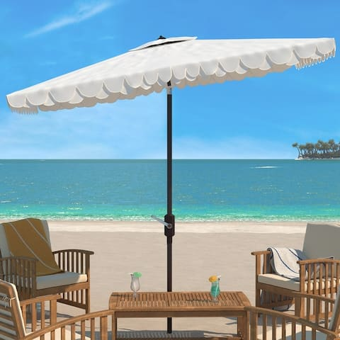 SAFAVIEH Outdoor Living Elegant Valance 6.5 x 10 Ft Rectangle Umbrella