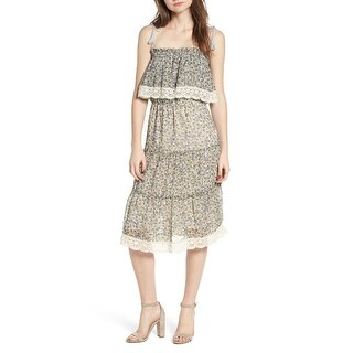 Cupcakes and Cashmere Womens Floral Popover A-Line Dress