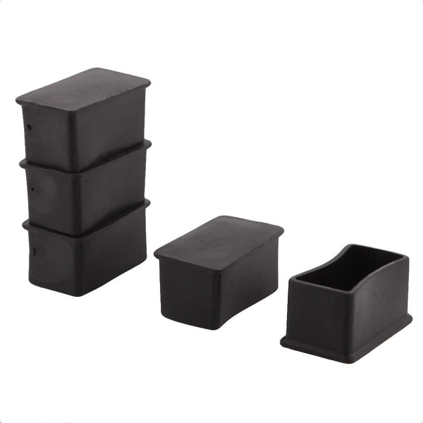 Furniture Table Chair Rubber Square Shape Leg Foot Covers Black 25 X 50mm 5  PCS