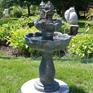 Sunnydaze Flower Petal 3 Tier Outdoor Water Fountain 33 Inch Tall