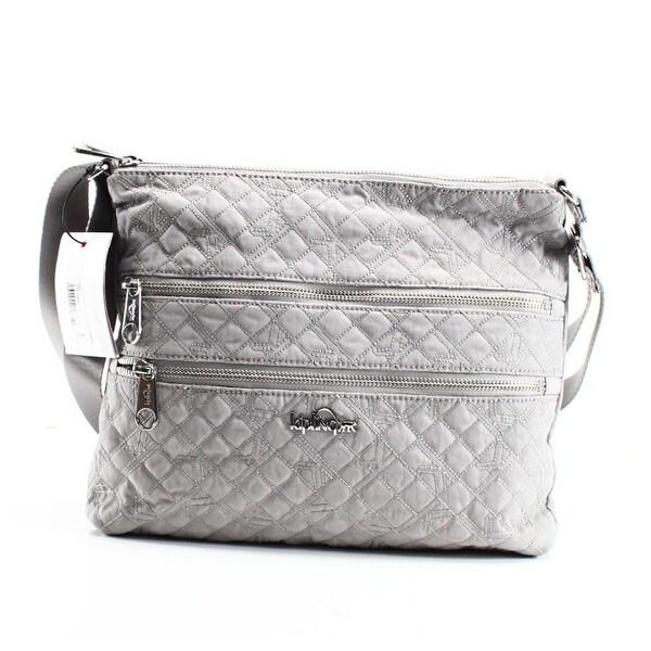 35e97f059 Shop Kipling NEW Gray Slate Grey Quilted Nylon Alvar Crossbody Bag ...