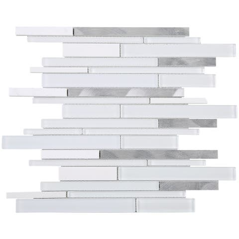 TileGen. Slender Random Sized Mixed Material Tile in White/Grey Wall Tile (10 sheets/10.4sqft.)