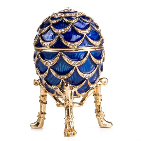Pine Cone Imperial Faberge Egg / Jewelry Trinket Box in Blue