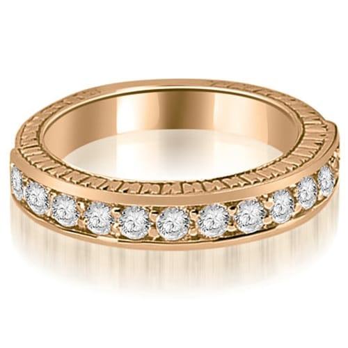 0.60 cttw. 14K Rose Gold Antique Round Cut Diamond Wedding Band