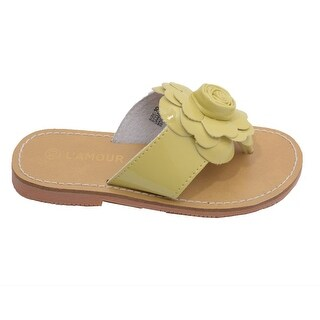 L'Amour Toddler Girls Yellow Patent Flower Flip Flop Sandals 7-10 Toddler
