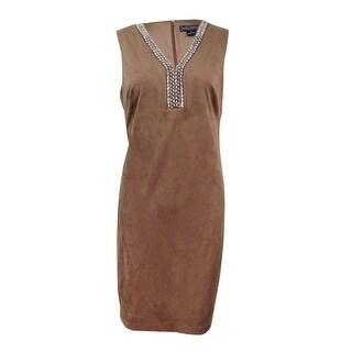 Jessica Howard Women's Petite Embellished Faux-Suede Dress