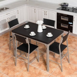 Costway 5 Piece Dining Table & Chairs Set Wood Metal Kitchen Breakfast Furniture Black