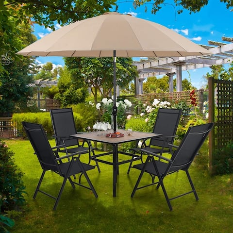"MFSTUDIO 6 Piece Patio Dining Set with 37"" Square Wood-Like Table, 1 x 10 ft Outdoor Umbrella and 4 Folding Textilene Chairs"