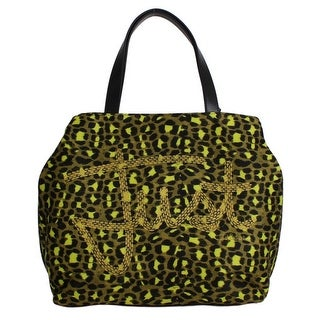 Cavalli Yellow Black Leopard Hand Shopping Tote Bag