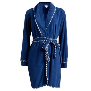 Rene Rofe Women's Terry Short Wrap Robe - Blue