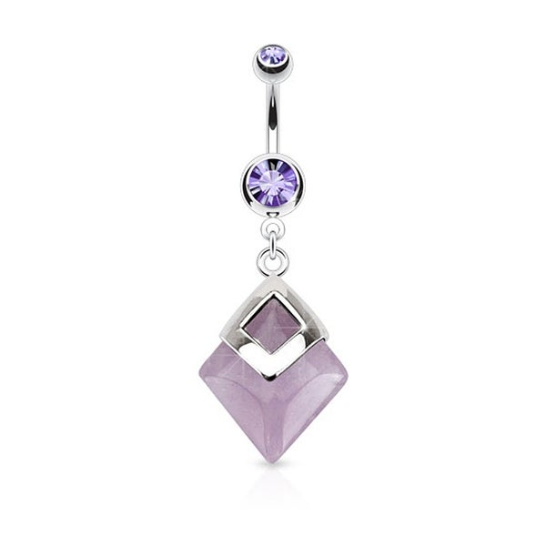 Amethyst Diamond Shaped Semi Precious Stone Mounted 316L Surgical Steel Navel Belly Button Ring