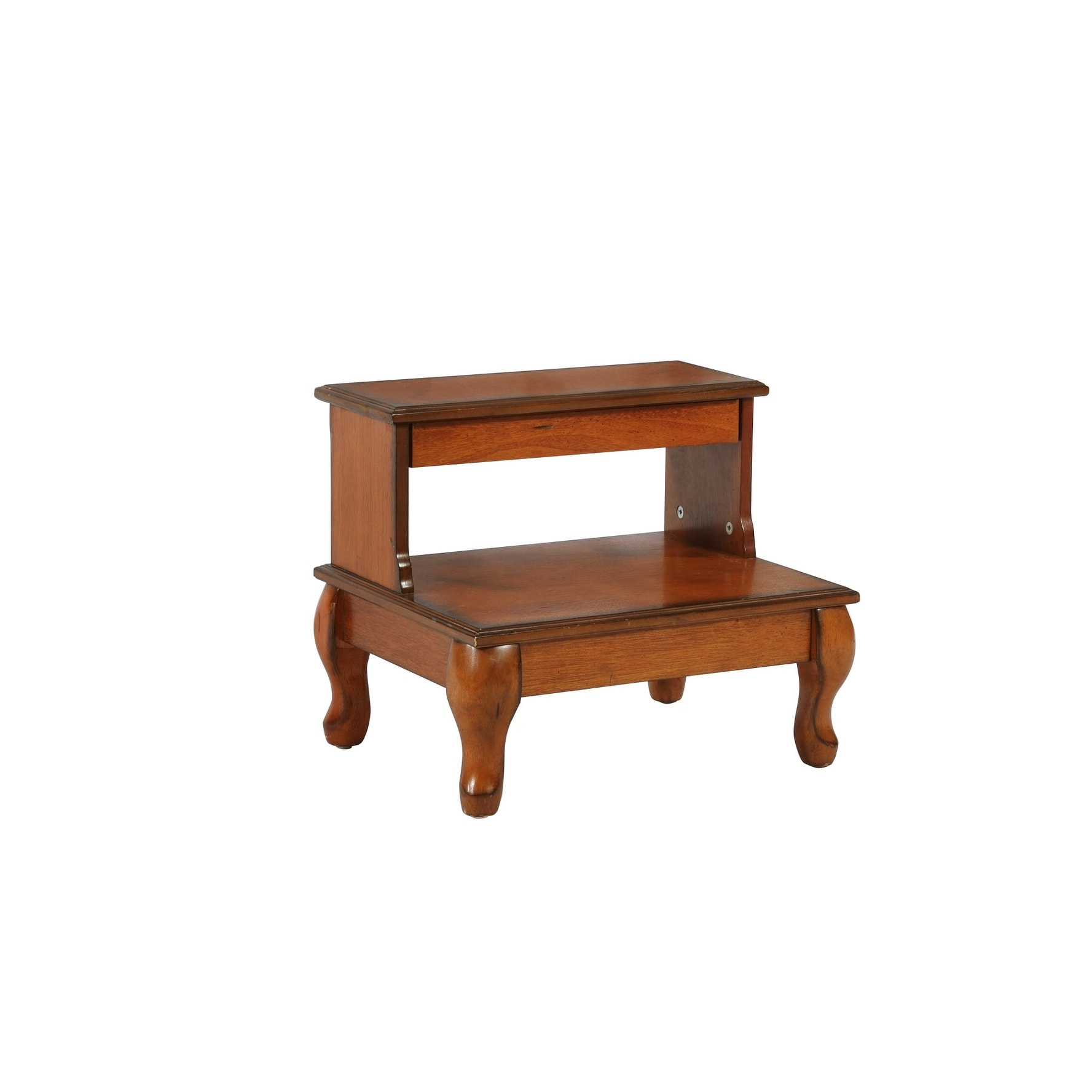 Powell Home Fashions 961 535 Attic 19 Wide Wood Veneer Step Stool Distressed Antique Cherry