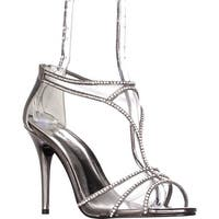 Caparros Bluebell Mesh T-Strap Sparkle Dress Sandals, Pewter Metallic