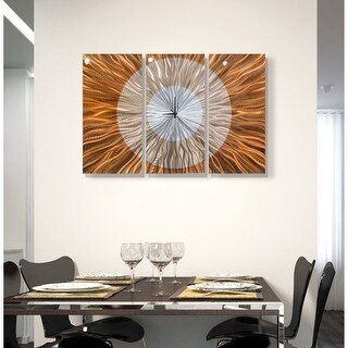 "Statements2000 Metal Wall Clock Art Panels Abstract Copper Silver Painting Decor by Jon Allen - Afterglow - 38"" x 24"""
