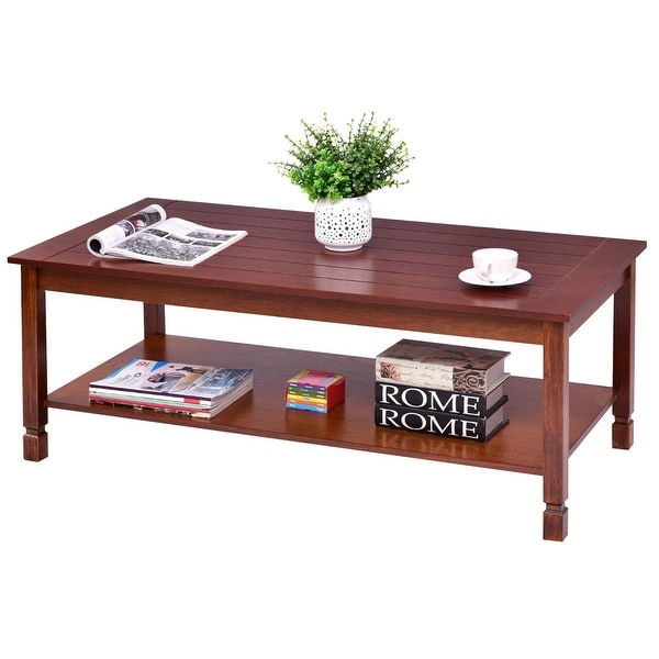 shop gymax wood coffee table cocktail table rectangle w storage shelf walnut living room on. Black Bedroom Furniture Sets. Home Design Ideas