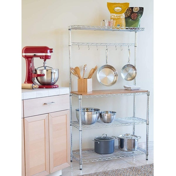 Baker's Rack Microwave Oven Rack Shelving Storage with Wood Cutting Board. Opens flyout.