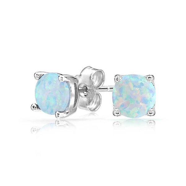 Bling Jewelry Imitation White Opal October Birthstone Stud Earrings 925 Sterling Silver 6mm
