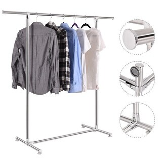 Costway Heavy Duty Stainless Steel Garment Rack Clothes Hanging Drying Display Rail - Sliver