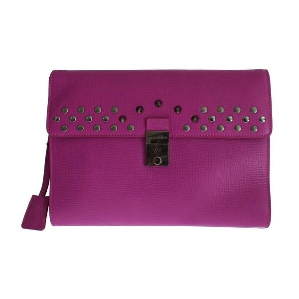 f41d6cff9c Dolce  amp  Gabbana Dolce  amp  Gabbana Pink Leather Studded Document  Portfolio Briefcase Bag -