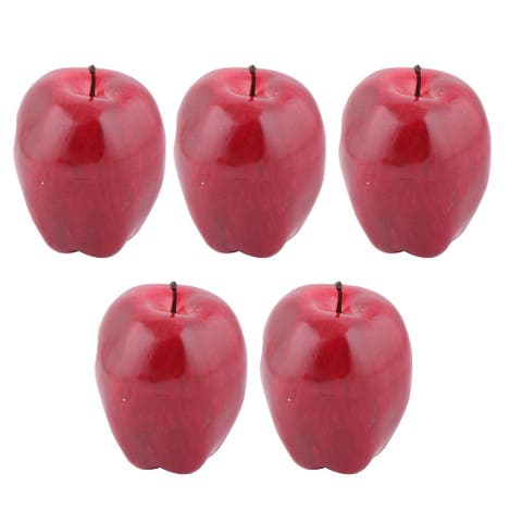 Family Table Ornament Foam Handmade Simulation Artificial Fruit Apple 5pcs - Red