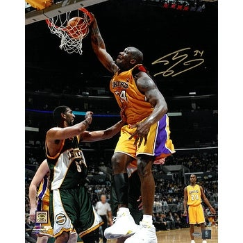 c918c1df744 Shaquille ONeal signed Los Angeles Lakers 16x20 Photo 34 Dunk vs Seattle