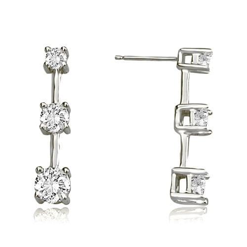 2.00 cttw. 14K White Gold Classic Three-Stone Round Diamond Earrings - White H-I