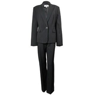 Le Suit Women's St. Germain Striped Pant Suit - Black/Tan - 12