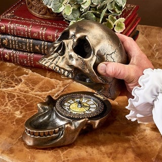 Design Toscano Halloween Memento Mori Skull Clock